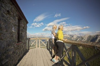 Bergpanorama von der Spitze des Sulphur Mountains