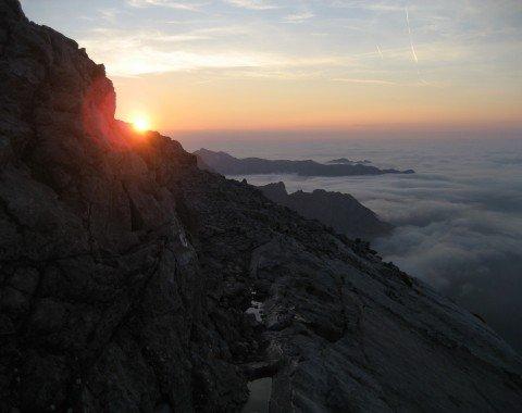 Sonnenuntergang am Hocheck (2651m)