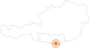 Ausflugsziel Tscheppaschlucht bei Ferlach am Klopeiner See - Südkärnten: Position auf der Karte