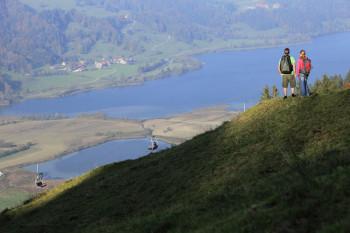 In der Alpsee Bergwelt erhältst du ein herrliches Panorama auf den Großen Alpsee im Allgäu.