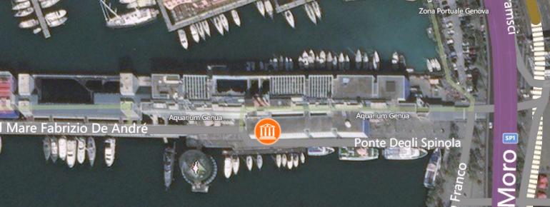 Blick auf die Lage des Aquariums in der Bucht von Genua.
