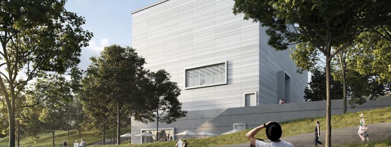 Das neue Bauhaus Museum Weimar entsteht am Rand des Weimarhallenparks direkt gegenüber dem ehemaligen »Weimarer Gauforum«. Eröffnung ist 2019.