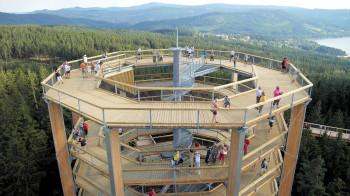 Vom 40 m hohen Aussichtsturm hast du einen tollen Ausblick über den Nationalpark Böhmerwald.