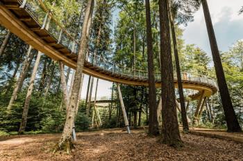 Der Weg ist zwischen 4 und 15 Meter hoch.