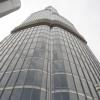 Blick von der Aussichtsplattform im 124. Stock hinauf zur Spitze des Burj Khalifa.
