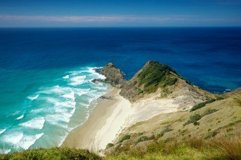 Am Cape Reinga treffen die Tasmansee und der Pazifik aufeinander.
