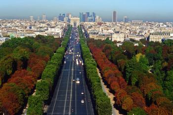 Blick auf die Prachtstraße von Paris: die Champs Elysées.
