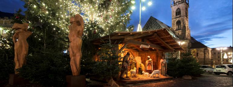 Die große Krippe neben dem Weihnachtsbaum erstrahlt in hellem Licht.
