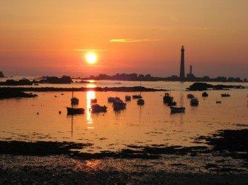 Der Leuchtturm bei Sonnenuntergang.