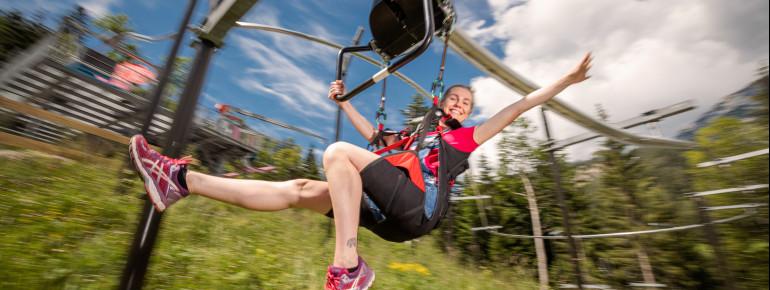 800 Meter lang ist die Strecke des Flying Coasters in Gröbming.