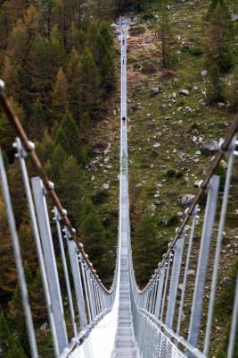 Fast 500 Meter ist die Hängebrücke lang.