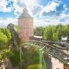 """Die Stahlachterbahn """"Fluch von Novgorod"""" besteht seit 2009."""
