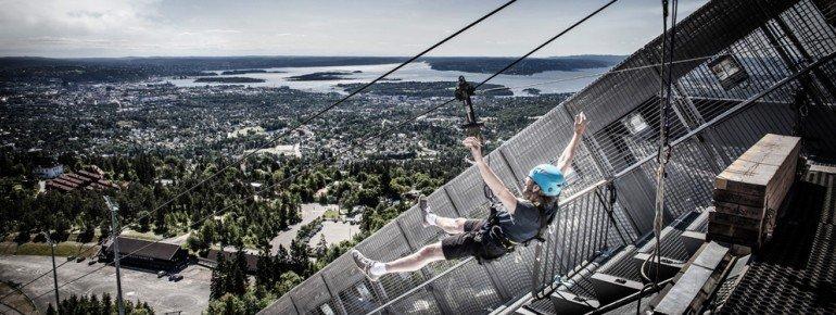 Die Zipline am Holmenkollen verspricht Adrenalin pur