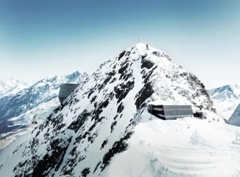 Die Matterhorn glacier paradise Erlebniswelt auf dem Klein Matterhorn auf 3.883 Metern.