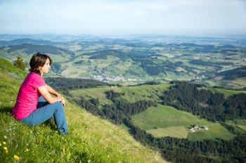 Vom Kronberg hast du ein tollen Blick auf das Appenzeller Land.