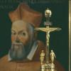Porträt des Kardinals Giovanni Francesco Commendone (1524–1584) Italien, um 1570 Figurenuhr mit der Darstellung der Kreuzigung Christi, Isaak Ebert, Steyr, um 1640/50