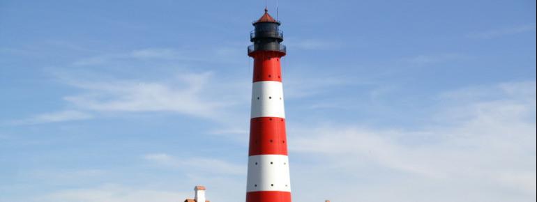Der Leuchtturm Westerhever gehört zu den markantesten Punkten an der gesamten Westküste Schleswig-Holsteins.