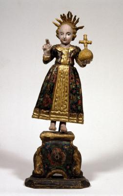 Nachbildung des Jesuskindes aus dem Salzburger Loretokloster Süddeutschland, 18. Jahrhundert Holz, geschnitzt und farbig gefasst
