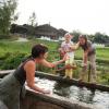 Die Gänse bewohnen im Sommer den Weiher im Museumsdorf