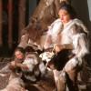 Jäger und Sammlerin am Zelt