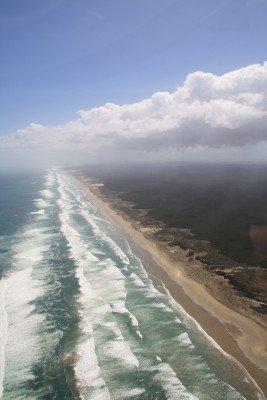 Der Strand aus der Luft.