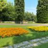 Liebevoll angelegte Blumenbeete wohin man blickt