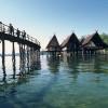 Am Ufer des Bodensees stehen die Pfahlbauten im Wasser.