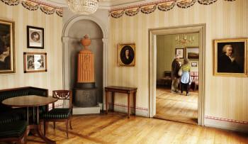 Im ersten Obergeschoss befinden sich die Wohnräume der Familie.