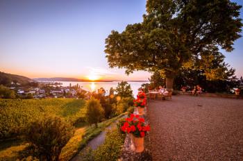 Sonnenuntergang am Schloss Arenenberg