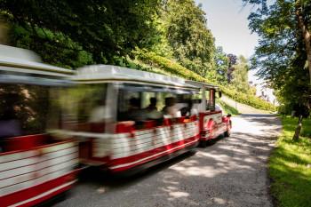 Mit dem Bummelzug Tratzberg-Express kannst du nach oben zum Schloss fahren.