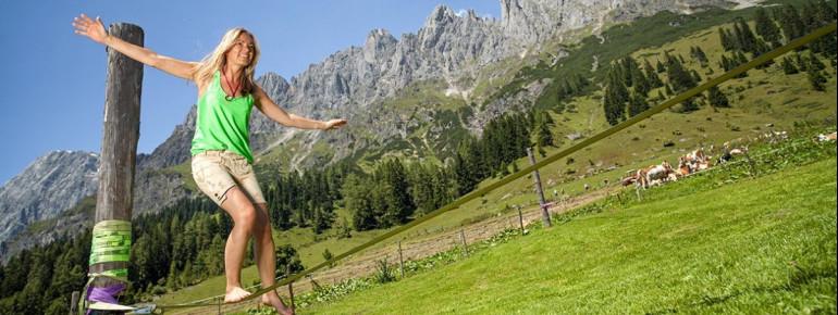Der Slacklinepark am Hochkönig war der erste frei zugängliche Park mit permanent gespannten Slacklines in Österreich.