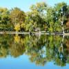 Reflexion der Herbstfarben im See des Parks.