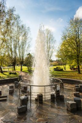 Die Fontäne des Wallenden Born wird unter den richtigen Bedingungen bis zu 4 m hoch.