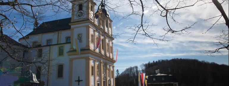 Außenansicht der Wallfahrtsbasilika Maria Plain bei Salzburg.