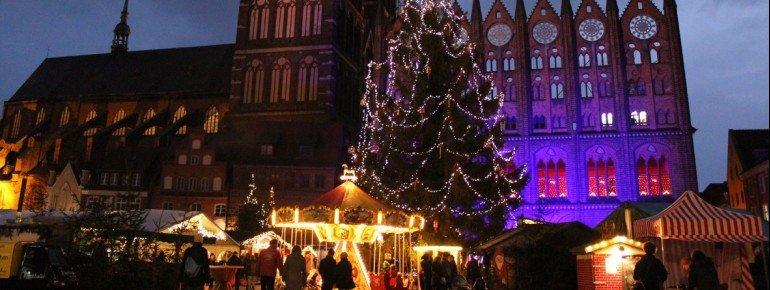 Das Wahrzeichen des Weihnachtsmarktes in Stralsund ist der geschmückte Tannenbaum.