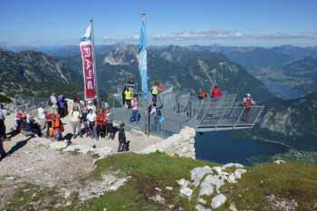 From a dizzy height, look down on Lake Hallstättersee and Salzkammergut.