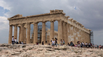 The Parthenon, the temple in honour of the main goddess Athena, towers above all other buildings on the Acropolis.