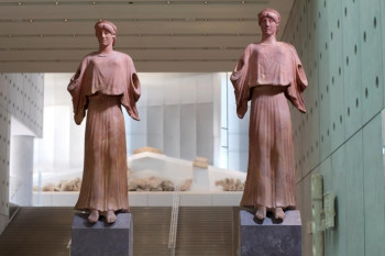 2 ancient statues exhibited in the Acropolis Museum