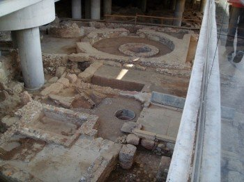 Archaeological excavation site inside the Acropolis Museum