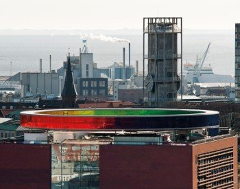 The panorama rainbow on the roof of the museum