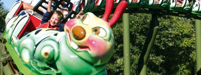 A swift ride on the caterpillar roller coaster.