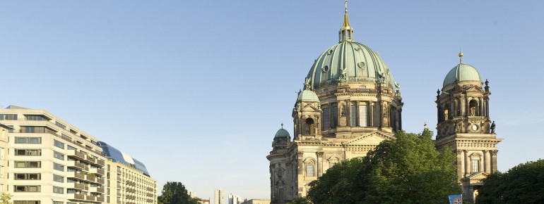 Berlin Cathedral on an island on river Spree.
