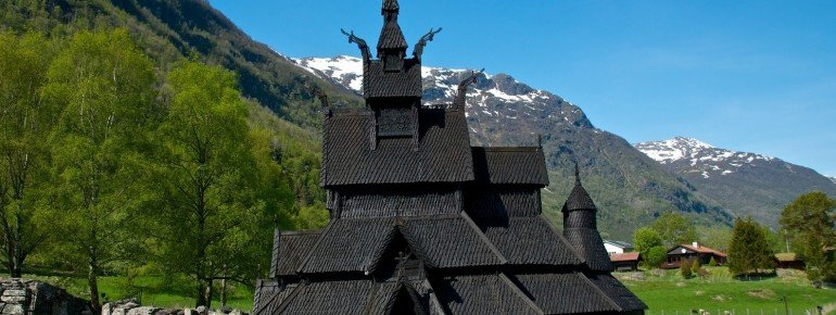 Borgund Stave Church surrounded by beautiful Norwegian landscapes