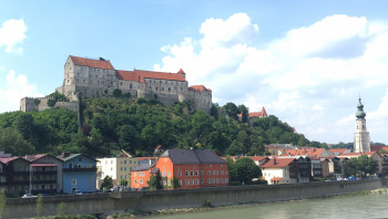 Back view of Burghausen Castle seen from the Austrian side of the River Salzach.