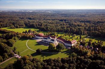 A bird's eye view of Castle Solitude near Stuttgart and its palace garden.