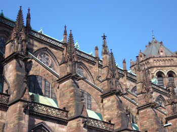 A view of the roof of the Strasbourg Cathedral