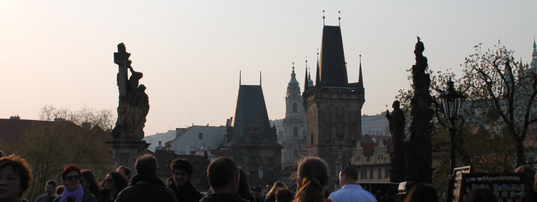 Numerous tourists find their way to Charles Bridge every day.