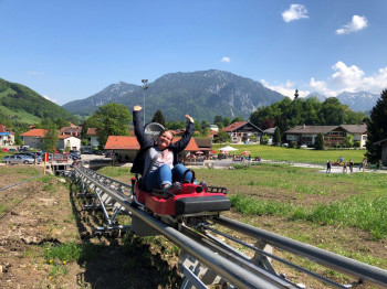 Chiemgau Coaster starts right at the entry to the town of Ruhpolding.