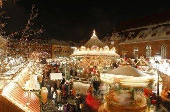 Snow white Christmas market bustle