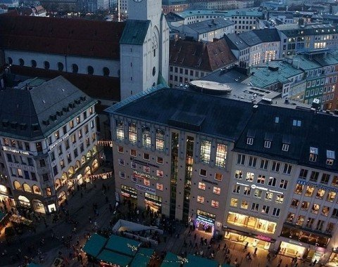 Christkindlmarkt viewed from the tower of Munich's town hall